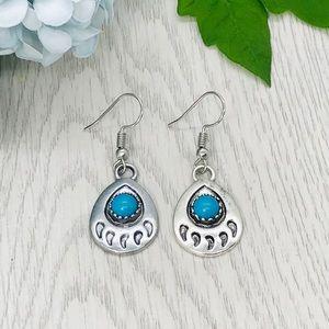 Sterling Native Southwest Bear Turquoise Earrings